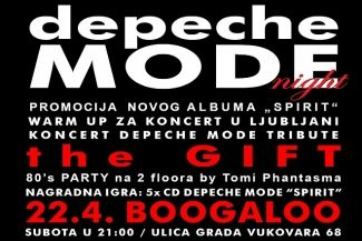 Osvoji ulaznicu za DEPECHE MODE NIGHT / the Gift + 80'S Party u Boogaloo 22.04.2017.