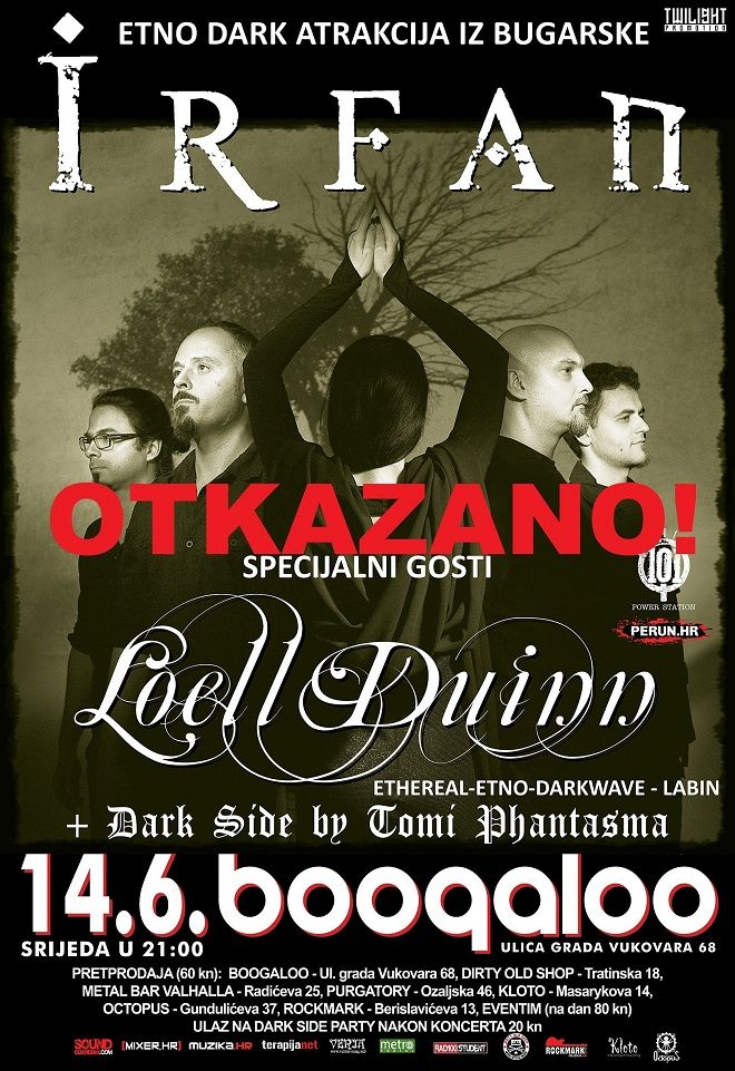 OTKAZANO! IRFAN + LOELL DUINN + Dark Side Party 14.06.2017. u Boogaloo-u