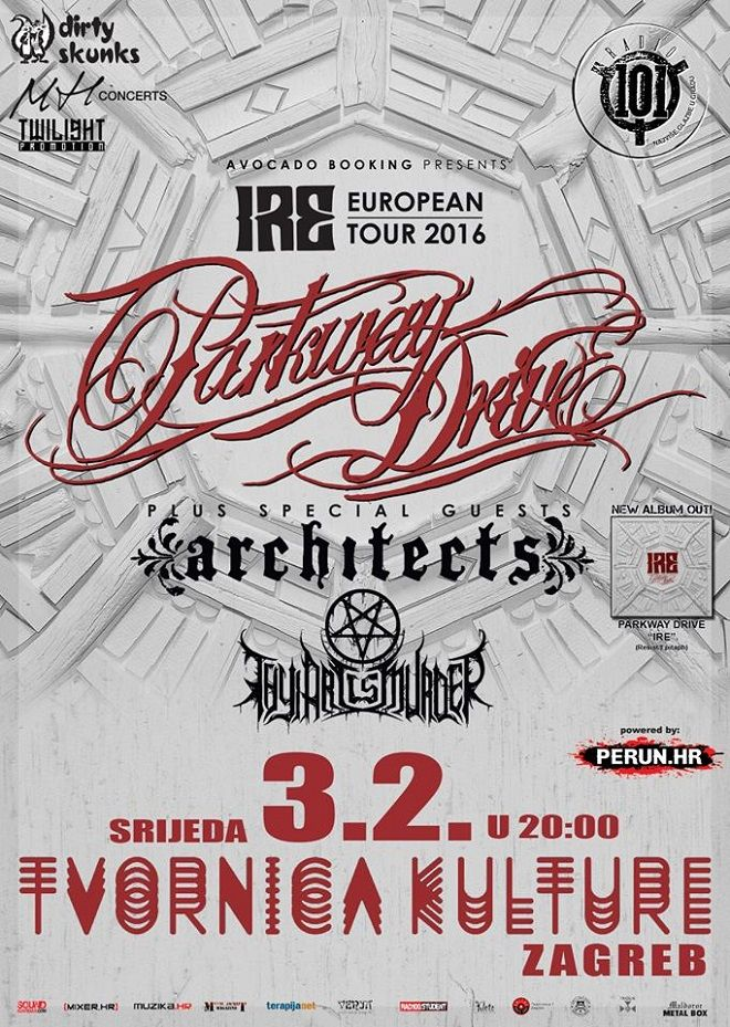 PARKWAY DRIVE + ARCHITECTS + THY ART IS MURDER u Tvornici kulture 03.02.2016.