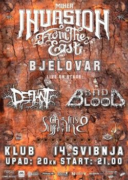 INVASION FROM THE EAST: Bjelovar - Defiant, Bad Blood, Chains Of Suffering u Klubu Bjelovar 14.05.2016.