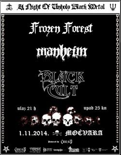 A night of unholy black metal: FROZEN FOREST, MANHEIM, BLACK CULT